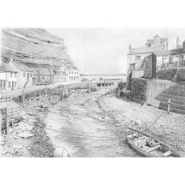 Low Tide in the River at Staithes A4 Print