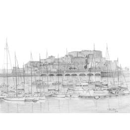 Castle Cornet, St Peter Port Harbour, Guernsey A4 Print