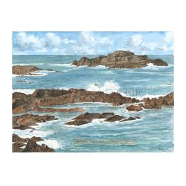 Rocky Shore, South Coast of Guernsey 1 A4 Print