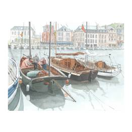 Honfleur, Working boats in Vieux Bassin