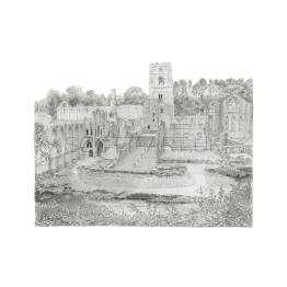Fountains Abbey, Yorkshire A4 Print