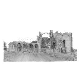 Lindisfarne Abbey Ruins, Northumberland A4 Print