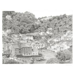 Looking Down on Polperro, Cornwall A4 Print
