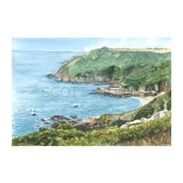 Petit Bot bay, south coast of Guernsey A4 Print