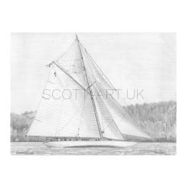 "Classic Yacht ""Mariquita"" A4 Print"