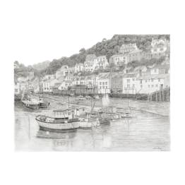 Fishing Boats at Low Tide in Polperro Harbour, Cornwall