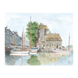 Honfleur - the Lieutenance with boats in the foreground A4 Print