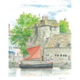 Honfleur, Classic Yacht in front of La Leutenance A4 Print