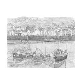 Staithes, Fishing Boats, Yorkshire A4 Print