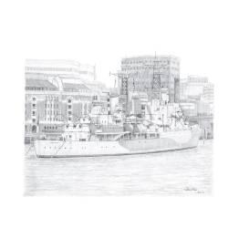 HMS Belfast, London A4 Print